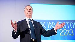 Nigel Farage, leader of UKIP, speaking at the UK Investor Show 2013, ExCel, London, Great Britain, 13 April 2013. Photo by: Elliott Franks / i-Images