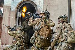 U.S. Soldiers with the 2nd Battalion, 503rd Infantry Regiment, 173rd Infantry Brigade Combat Team (Airborne) engage opposing forces in a simulated exercise during Saber Junction 18 at Hohenfels Training Area, Germany, Sept. 26, 2018. Saber Junction 18 is the 173rd Infantry Brigade Combat Team's (Airborne) combat training center certification exercise, taking place on the Grafenwoehr and Hohenfels training areas, Sept. 4 – Oct. 1, 2018. The U.S. Army Europe-directed exercise is designed to assess the readiness of the brigade to conduct unified land operations in a joint, combined environment and to promote interoperability with participating Allies and partner nations. Saber Junction 18 includes nearly 5,500 participants from 20 allied and partner nations. (U.S. Army photo by Cpl. Gabrielle Weaver)