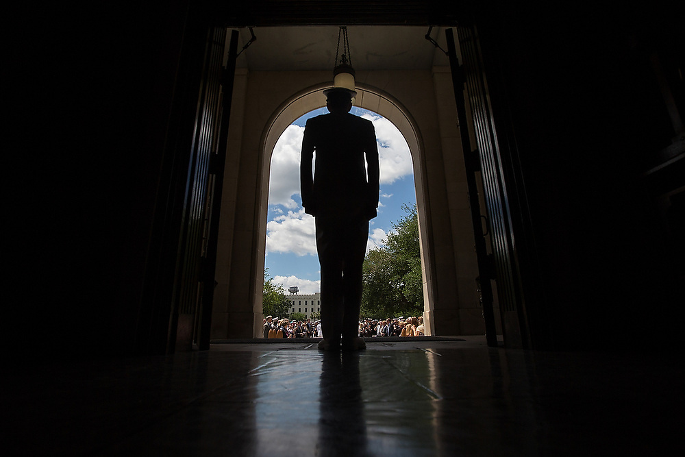 A newly commissioned Navy Ensign waits to be introduced in front of Summerall Chapel at The Citadel in Charleston, S.C., on Wednesday, May 4, 2016. <br /> Zach Bland/The Citadel