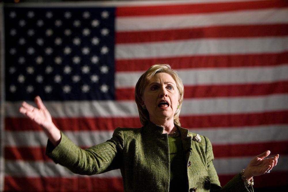 Presidential hopeful Sen. Hillary Rodham Clinton, D-NY, speaks Monday, April 2, 2007 a campaign stop at Memorial Auditorium in Burlington, Iowa. Photo by Scott Morgan