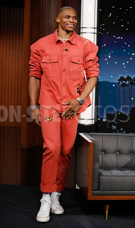 """JIMMY KIMMEL LIVE! - """"Jimmy Kimmel Live!"""" airs every weeknight at 11:35 p.m. EST and features a diverse lineup of guests that include celebrities, athletes, musical acts, comedians and human interest subjects, along with comedy bits and a house band. The guests for Monday, October 4 included John Stamos, Russell Westbrook (""""Passion Play""""), and musical guest Alice Merton. (ABC/Randy Holmes)<br /> RUSSELL WESTBROOK"""