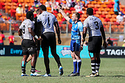 Sevuloni Mocenacagi receives a red card during Day 3 of the HSBC World Rugby Sevens, Mens Semi Final match between New Zealand and Fiji, 2019, Spotless Stadium, Saturday 3rd February 2019. Copyright Photo: David Neilson / www.photosport.nz