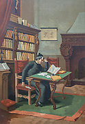 Arias Montano Engaging in the Works of the Polyglot Bible [Arias Montano Ocupandose en los Trabajos de la Biblia Poliglota] Benito Arias Montano (or Benedictus Arias Montanus; 1527–1598) was a Spanish orientalist and editor of the Antwerp Polyglot. He was born at Fregenal de la Sierra, in Extremadura, and died at Seville. From the book La ciencia y sus hombres : vidas de los sabios ilustres desde la antigüedad hasta el siglo XIX T. 3  [Science and its men: lives of the illustrious sages from antiquity to the 19th century Vol 3] By by Figuier, Louis, (1819-1894); Casabó y Pagés, Pelegrín, n. 1831 Published in Barcelona by D. Jaime Seix, editor , 1879 (Imprenta de Baseda y Giró)