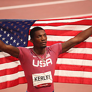 TOKYO, JAPAN August 1:  Fred Kerley of the United States after winning the silver medal in the100m final during the Track and Field competition at the Olympic Stadium  at the Tokyo 2020 Summer Olympic Games on July 31, 2021 in Tokyo, Japan. (Photo by Tim Clayton/Corbis via Getty Images)