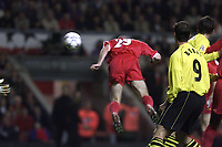 Fotball: Liverpool's Stephen Wright heads past Borussia Dortmund's Jens Lehmann during the UEFA Champions League Group B match at Anfield.