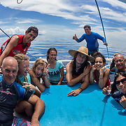 Myself on the left with guests and crew on the whale shark tour banca boat, Honda Bay, Palawan, the Philppines.