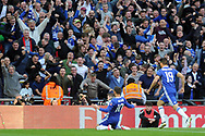 Chelsea's Eden Hazard (on knees) celebrates scoring Chelsea's third goal in front of their fans. The Emirates FA Cup semi-final match, Chelsea v Tottenham Hotspur at Wembley Stadium in London on Saturday 22nd April 2017.<br /> pic by Carl Robertson,  Andrew Orchard sports photography.