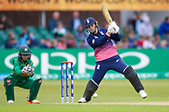 England womens cricket player Natalie Sciver  goes to her half century and 50 with a boundary during the ICC Women's World Cup match between England and Pakistan at the Fischer County Ground, Grace Road, Leicester, United Kingdom on 27 June 2017. Photo by Simon Davies.