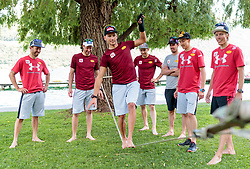 22.05.2017, Kalterer See, Kaltern, ITA, OESV, Nordische Kombinierer, Trainingskurs Kaltern, im Bild Trainer Christoph Bieler, Bernhard Gruber, Philipp Orter, David Pommer, Lukas Klapfer, Mario Seidl, Franz Josef Rehrl // during a Trainingscamp of Austrian Nordic Combined Team at the Kalterer Lake, Kaltern, Italy on 2017/05/22. EXPA Pictures © 2017, PhotoCredit: EXPA/ JFK