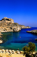 Lindos (Acropolis in background), island of Rhodes (Rodos), Dodecanese, Greece