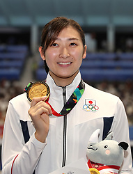 JAKARTA, Aug. 24, 2018  Gold medalist Ikee Rikako of Japan poses for pictures after the awarding ceremony of women's 50m freestyle final of swimming at the 18th Asian Games in Jakarta, Indonesia, Aug. 24, 2018. (Credit Image: © Fei Maohua/Xinhua via ZUMA Wire)