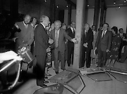 24/08/1984<br /> 08/24/1984<br /> 24 August 1984<br /> Opening of ROSC '84 at the Guinness Store House, Dublin. President Patrick Hillery and Maeve Hillery have this unusual exhibit explained by Pat Murphy, Chairman of ROSC. Also pictured from the right are Mrs Jo Nealon; Minister of State for Arts and Culture Ted Nealon; Mr Brian Slowey, Managing Director, Guinness,Ireland and  Lord Iveagh.