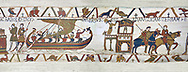 Bayeux Tapestry scene 24 : Having sworn fealty to Duke William Harold sails back to England. BYX24 .<br /> <br /> If you prefer you can also buy from our ALAMY PHOTO LIBRARY  Collection visit : https://www.alamy.com/portfolio/paul-williams-funkystock/bayeux-tapestry-medieval-art.html  if you know the scene number you want enter BXY followed bt the scene no into the SEARCH WITHIN GALLERY box  i.e BYX 22 for scene 22)<br /> <br />  Visit our MEDIEVAL ART PHOTO COLLECTIONS for more   photos  to download or buy as prints https://funkystock.photoshelter.com/gallery-collection/Medieval-Middle-Ages-Art-Artefacts-Antiquities-Pictures-Images-of/C0000YpKXiAHnG2k