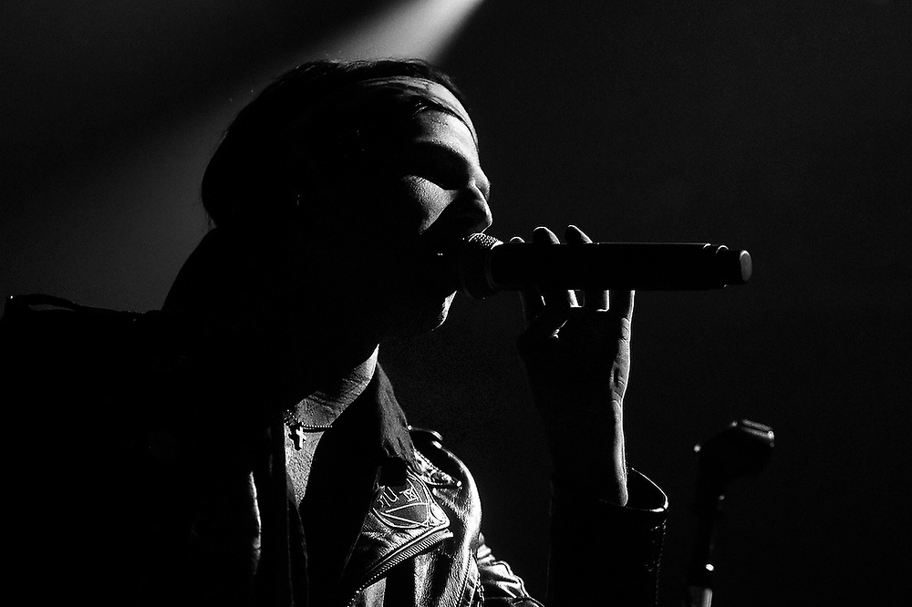 The Neighbourhood's lead vocalist Jesse Rutherford during a performance at Auburn Arena. <br /> Auburn Airwaves in Auburn, Ala. on Thursday, April 24, 2014.<br /> Zach Bland Photo