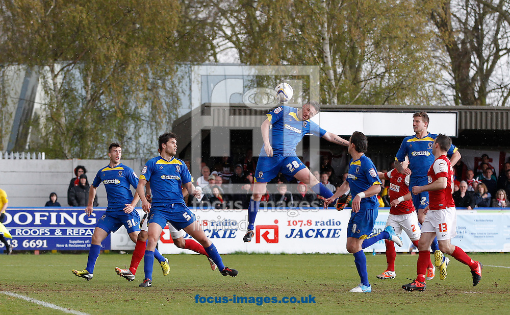 Picture by Andrew Tobin/Focus Images Ltd +44 7710 761829.27/04/2013. Gary Alexander of AFC Wimbledon scores their first goal during the npower League 2 match at the Cherry Red Records Stadium, Kingston.