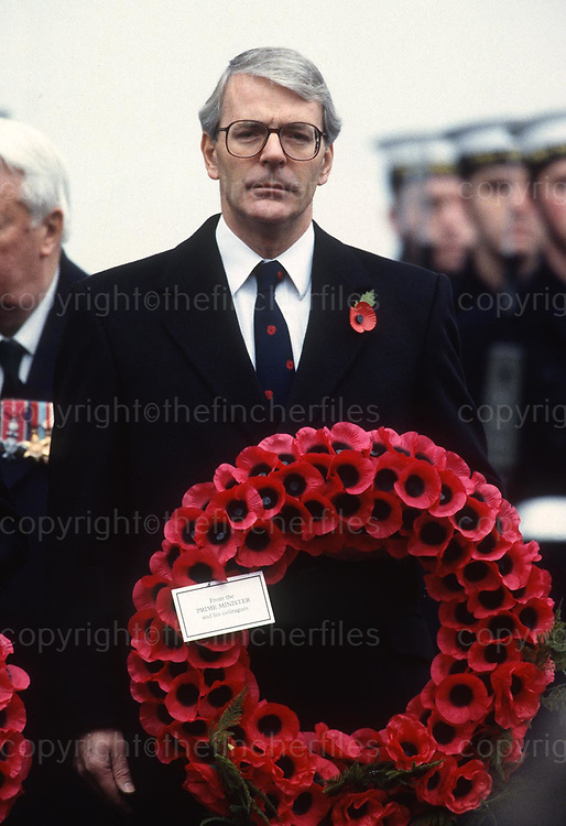 Prime Minister John Major seen at the Cenotaph Remembrance Ceremony in Whitehall,London in November 1994. Photograph by Jayne Fincher