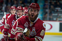 REGINA, SK - MAY 20: Liam Murphy #61 of Acadie-Bathurst Titan yells in celebration of a first period goal against the Regina Pats at the Brandt Centre on May 20, 2018 in Regina, Canada. (Photo by Marissa Baecker/CHL Images)