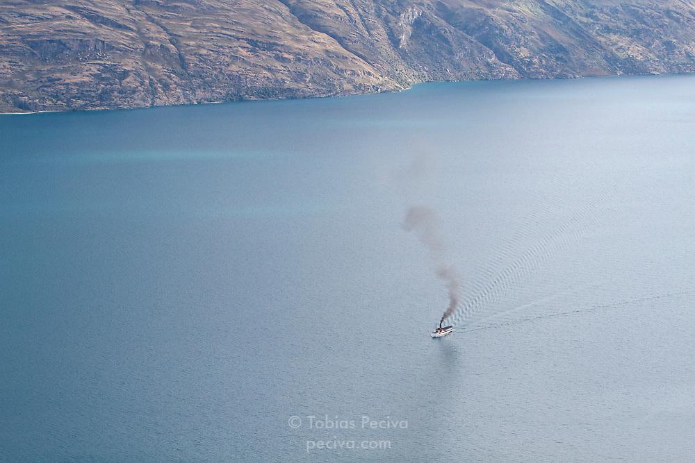 Steamer TSS Earnslaw cruising on Lake Wakatipu, near Queenstown.
