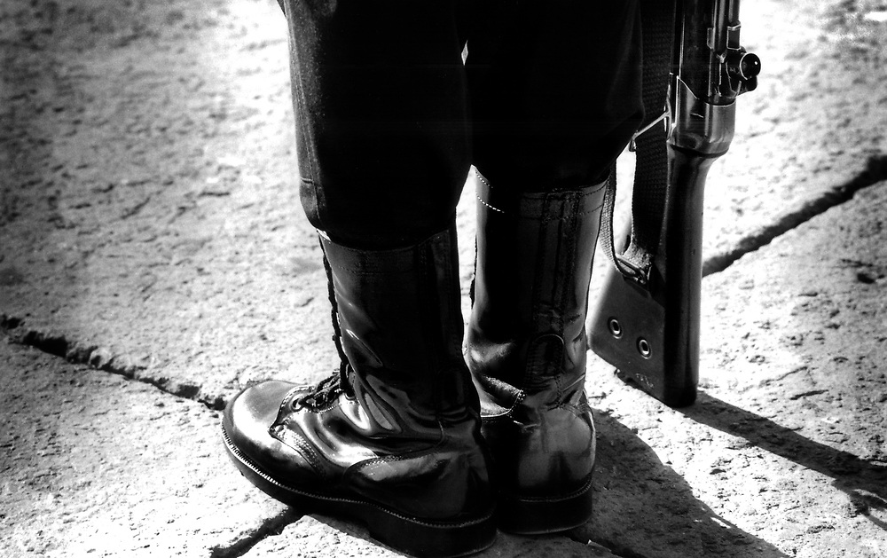 Detail of soldiers boots, Mexico City.