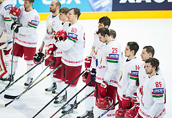 Artyom Volkov of Belarus and other players after the Ice Hockey match between Canada and Belarus at Quarterfinals of 2015 IIHF World Championship, on May 14, 2015 in O2 Arena, Prague, Czech Republic. Photo by Vid Ponikvar / Sportida
