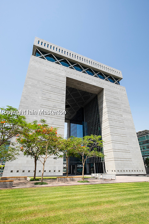 View of The Gate office building at DIF the financial and business district of Dubai United Arab Emirates