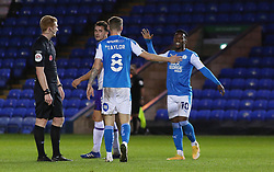 Jack Taylor of Peterborough United is congratulated by team-mate Siriki Dembele after scoring his sides fifth goal of the game - Mandatory by-line: Joe Dent/JMP - 31/10/2020 - FOOTBALL - Weston Homes Stadium - Peterborough, England - Peterborough United v Shrewsbury Town - Sky Bet League One