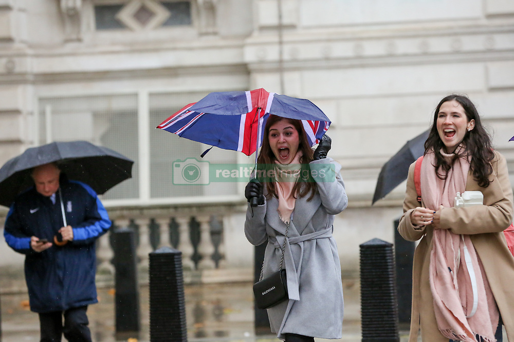 November 20, 2018 - London, United Kingdom - People are seen holding umbrellas during a heavy rainfall.. According to The Met Office, snow and sleet is forecasted in Britain this week as temperatures plummet. (Credit Image: © Dinendra Haria/SOPA Images via ZUMA Wire)
