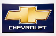Close of of Chevrolet logo, car sales dealership, Ransomes Europark, Ipswich, Suffolk, England