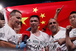 HOUSTON, Jan. 27, 2019  Xu Can (2nd L) of China celebrates during the awarding ceremony after winning the World Boxing Association (WBA) featherweight champion in Houston, the United States, on Jan. 26, 2019. Xu Can lifted China's first ever World Boxing Association title here on Saturday after he defeated defending champion Jesus Rojas of Puerto Rico by unanimous decision. (Credit Image: © Steven Song/Xinhua via ZUMA Wire)