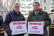 Jono Read (right, change.org petition organiser), John McDonnell MP (left)  deliver an over 271,000 strong petition to save BBC Three to the BBC broadcasting house. Central London. 17th February 2015.
