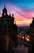 The old center of Santiago de Compostela at sunset.