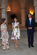 Former Queen Sofia, King Felipe VI of Spain, Queen Letizia of Spain attend a official reception for Authorities at the Almudaina Palace on August 7, 2016 in Palma de Mallorca, Spain