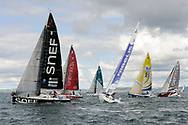 Xavier MACAIRE (GROUPE SNEF), Nicolas LUNVEN (GENERALI), Adrien HARDY (AGIR Recouvrement), Tanguy LE TURQUAIS (NIBELIS), Charlie DALIN (MACIF), Alexis Loison (Custo Pol) during the start of the Douarnenez Fastnet Solo 2017 on September 17, 2017 in Douarnenez, France - Photo Francois Van Malleghem / ProSportsImages / DPPI