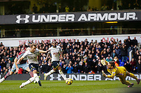 Tottenham Hotspur's Harry Kane scores his sides equalising goal from a penalty rebound, to make the score 2-2 <br /> <br /> Photographer Craig Mercer/CameraSport<br /> <br /> Football - Barclays Premiership - Tottenham Hotspur v West Ham United - Sunday 22nd February 2015 - White Hart Lane - London<br /> <br /> © CameraSport - 43 Linden Ave. Countesthorpe. Leicester. England. LE8 5PG - Tel: +44 (0) 116 277 4147 - admin@camerasport.com - www.camerasport.com