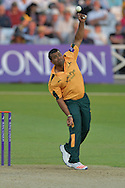 Samit Patel releasing the ball during the Royal London 1 Day Cup match between Nottinghamshire County Cricket Club and Northamptonshire County Cricket Club at Trent Bridge, West Bridgford, United Kingdom on 6 June 2016. Photo by Simon Trafford.