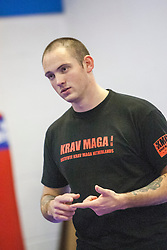 Stef Noij, KMG Instructor from the Institute Krav Maga Netherlands, at the IKMS G Level Programme seminar today at the Scottish Martial Arts Centre, Alloa.
