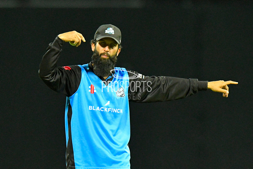 Moeen Ali of Worcestershire directing his fielders during the final of the Vitality T20 Finals Day 2018 match between Worcestershire Rapids and Sussex Sharks at Edgbaston, Birmingham, United Kingdom on 15 September 2018.