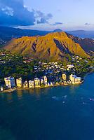 Aerial view of Diamond Head (mountain) off Waikiki Beach, Honolulu, Oahu, Hawaii, USA