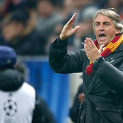 Galatasaray's coach Roberto Mancini during their UEFA Champions League Round of 16 First leg soccer match Galatasaray between Chelsea at the AliSamiYen Spor Kompleksi in Istanbul, Turkey on Wednesday 26 February 2014. Photo by Aykut AKICI/TURKPIX