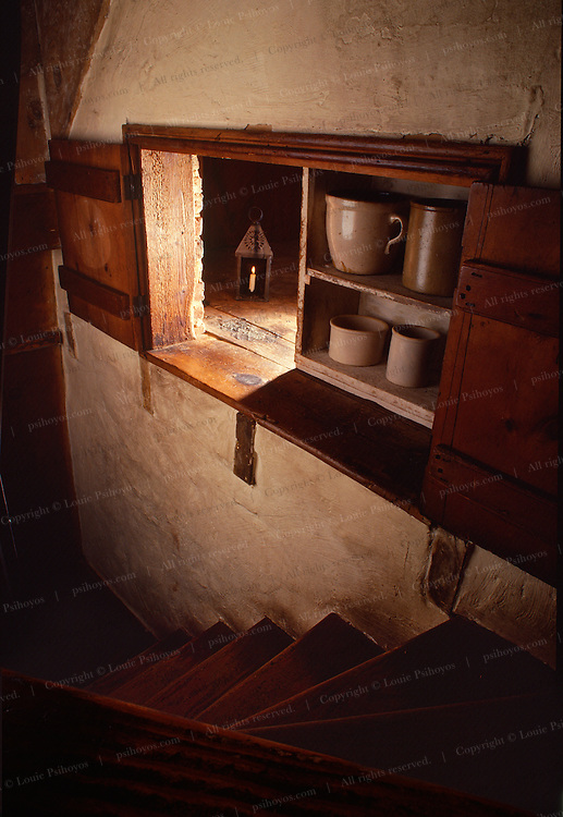 In 1810 Reverend Alexander Dobbin  created sliding shelves at his Gettysburg, Pennsylvania home to hide several slaves in a crawl space.