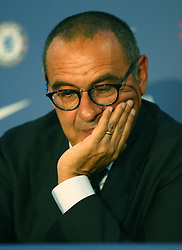 July 18, 2018 - London, England, United Kingdom - Maurizio Sarri, manager of Chelsea during a press conference at Stamford Bridge Ground,  London on 18 July , 2018. (Credit Image: © Action Foto Sport/NurPhoto via ZUMA Press)