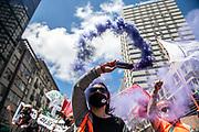 20201119 / URUGUAY / Montevideo / Movilización de la Confederación de Funcionarios del Estado (COFE), en reclamo por los recortes en el estado y en apoyo a las/os trabajadoras/es del Ministerio de Desarrollo Social (MIDES). La movilización se realizó en 18 de Julio y Barrios Amorín, frente a las oficinas del MIDES.<br /> <br /> En la foto: Movilización de la Confederación de Funcionarios del Estado (COFE), frente a las oficinas del Ministerio de Desarrollo Social (MIDES). Foto: Santiago Mazzarovich / adhocFOTOS