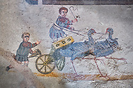 Roman children's chariot race from The Vestibule of The Smnall Circus, room no 41 - Roman mosaics at the Villa Romana del Casale,  circa the first quarter of the 4th century AD. Sicily, Italy. A UNESCO World Heritage Site..  Wall art print by Photographer Paul E Williams If you prefer visit our World Gallery Print Shop To buy a selection of our prints and framed prints desptached  with a 30-day money-back guarantee and is dispatched from 16 high quality photo art printers based around the world. ( not all photos in this archive are available in this shop) https://funkystock.photoshelter.com/p/world-print-gallery .<br /> <br /> USEFUL LINKS:<br /> Visit our other HISTORIC AND ANCIENT ART COLLECTIONS for more photos to buy as wall art prints  https://funkystock.photoshelter.com/gallery-collection/Ancient-Historic-Art-Photo-Wall-Art-Prints-by-Photographer-Paul-E-Williams/C00002uapXzaCx7Y
