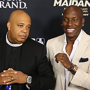 Rev Run and Tyrese are seen on the red carpet prior to the Mayweather versus Maidana boxing match at the MGM Grand hotel on Saturday, May 3, 2014 in Las Vegas, Nevada.  (AP Photo/Alex Menendez)
