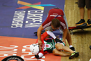 Men Keirin, Sandor Szalontay (Hungary) crash, during the Track Cycling European Championships Glasgow 2018, at Sir Chris Hoy Velodrome, in Glasgow, Great Britain, Day 6, on August 7, 2018 - Photo luca Bettini / BettiniPhoto / ProSportsImages / DPPI<br /> - Restriction / Netherlands out, Belgium out, Spain out, Italy out -