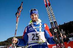 Winner Jean Guillaume Beatrix (FRA)  at medal ceremony after the  Men 15 km Mass Start at day 4 of IBU Biathlon World Cup 2015/16 Pokljuka, on December 20, 2015 in Rudno polje, Pokljuka, Slovenia. Photo by Vid Ponikvar / Sportida