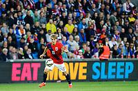 "Fotball , Privatlandskamp <br /> Mandag 8. Juni 2015 , 20150608<br /> Norge - Sverige<br /> Martin Ødegaard foran et reklameskilt med påskriften ""Eat Move , Sleep""<br /> Foto: Sjur Stølen / Digitalsport"