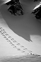 Backcountry skiing in the Wallowa Mountains.  Eagle Cap Wilderness Area, Oregon.