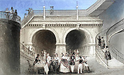 Machine colourized image of London The Thames Tunnel [connecting Rotherhithe and Wapping built between 1825 and 1843 by Marc Brunel and his son Isambard using the tunnelling shield newly invented by the elder Brunel and Thomas Cochrane] From the book Illustrated London, or a series of views in the British metropolis and its vicinity, engraved by Albert Henry Payne, from original drawings. The historical, topographical and miscellanious notices by Bicknell, W. I; Payne, A. H. (Albert Henry), 1812-1902 Published in London in 1846 by E.T. Brain & Co