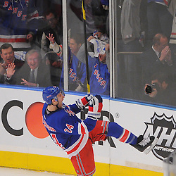 April 12, 2012:  New York Rangers right wing Ryan Callahan (24) celebrates his goal during first period action in game 1 of the NHL Eastern Conference Quarter-finals between the Ottawa Senators and New York Rangers at Madison Square Garden in New York, N.Y.